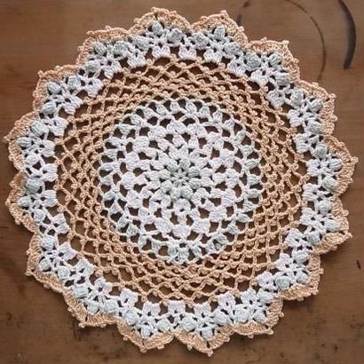 Cotton*ラムネ菓子のドイリー*pale blue+white multi
