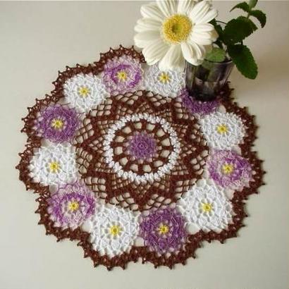Cotton*ジニアのドイリー*purple+brown+white