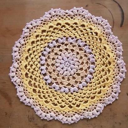 Cotton*ラムネ菓子のドイリー*light purple+ yellow multi