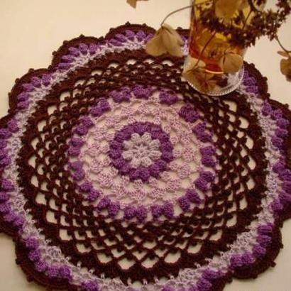 Cotton*ラムネ菓子のドイリー*purple+lavender+brown