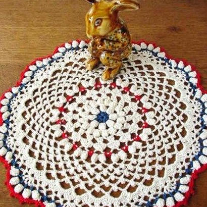 Cotton*ラムネ菓子のドイリー*ecru+blue+red