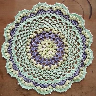 Cotton*ラムネ菓子のドイリー*light green+purple multi