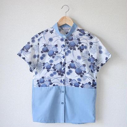Women's summer blue YUKATA shirt (no.039)