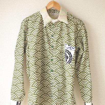 Men's green wave pattern x Kanji long sleeve shirt (no.057)