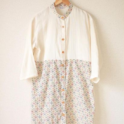 Cotton x Linen x Flax-leaf pattern Long shirt dress (no.051)