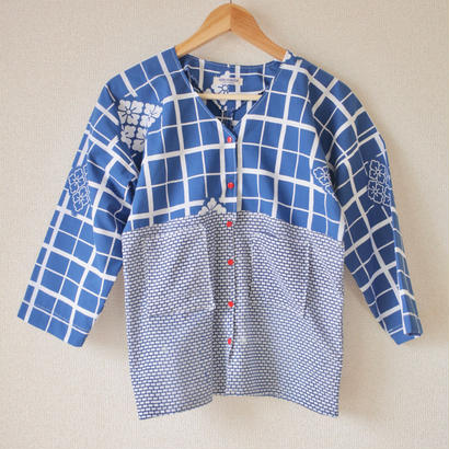 Blue no collar casual shirt (no.067)