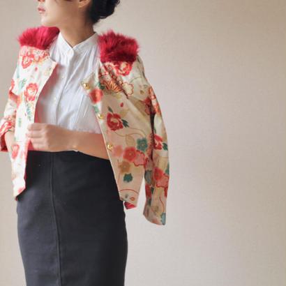 Red fur x Japanese flower pattern jacket (no.058)