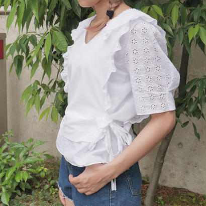 side ribbon eyelet lace blouse
