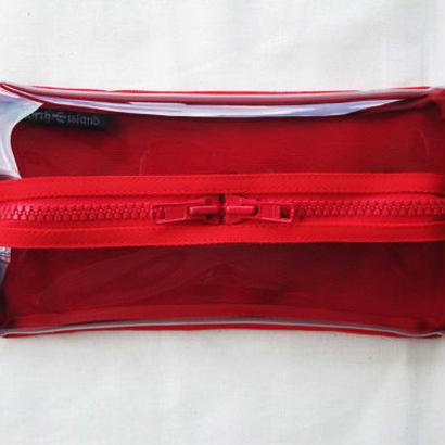 ティッシュケース 帆布×ビニール/赤