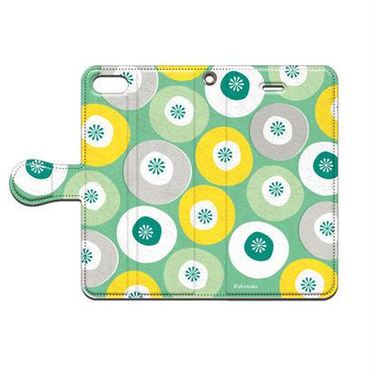 Shimako(しまこ) modern flower(グリーン) 手帳型スマホケース 対応機種(iPhone/アンドロイド機種)