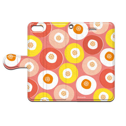 Shimako(しまこ) modern flower(ピンク) 手帳型スマホケース 対応機種(iPhone/アンドロイド機種)