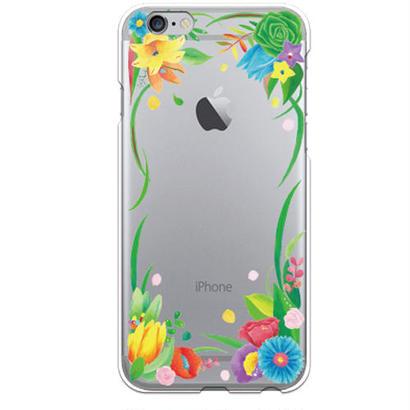 PED(ペッド) Happy Flower クリア ハード ケース(※側面部印刷なし) 対応5機種(iPhone機種)