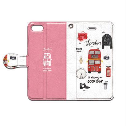 No.INFINITE London(ピンク) by maw 手帳型スマホケース 対応機種(iPhone/アンドロイド機種)