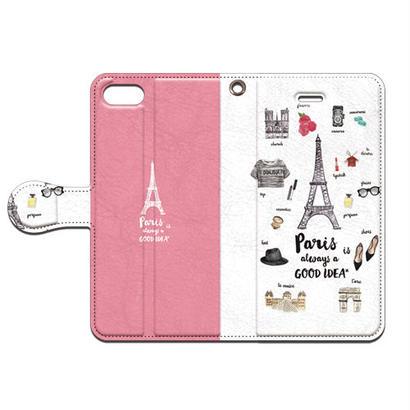 No.INFINITE Paris(ピンク) by maw 手帳型スマホケース 対応機種(iPhone/アンドロイド機種)