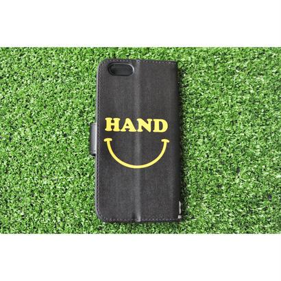 iphone手帳ケース HANDスマイル ブラック ★iPhone対応 5/5s/SE 5c 6/6s 6Plus/6sPlus 7 7plus 8 8plus