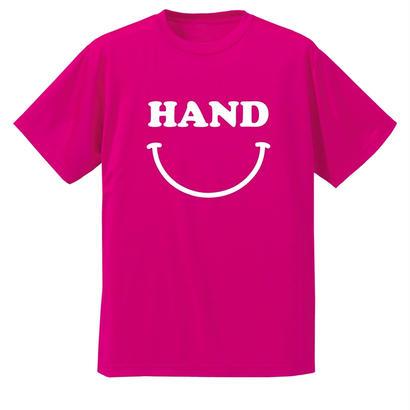 HAND スマイル ドライメッシュTシャツ ピンク