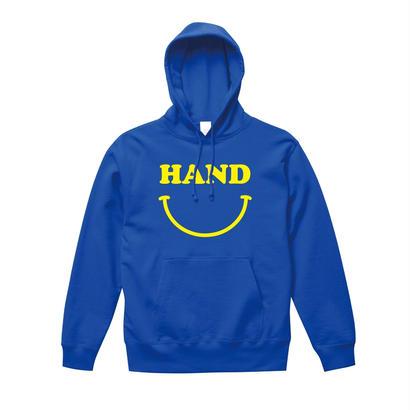 HAND スマイルパーカー  ブルー×蛍光イエロー