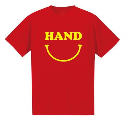 HAND スマイル ドライメッシュTシャツ レッド