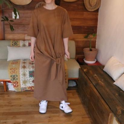 KNOTTED LONG DRESS brown