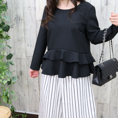 FRILLED HEM TOP black