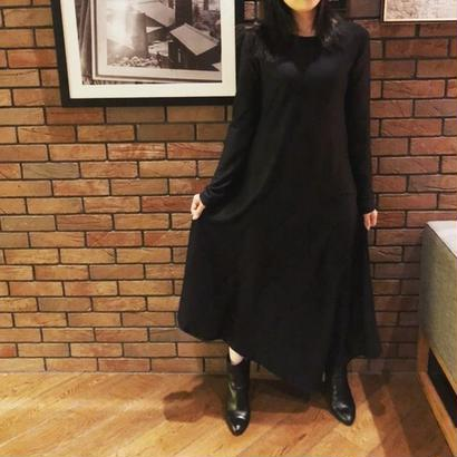 ASYMMETRIC LONG DRESS color:Dark Navy