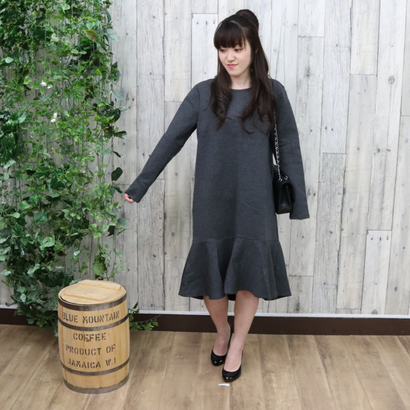 FRILLED  HEM DRESS gray
