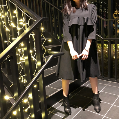 FRILLED DRESS black