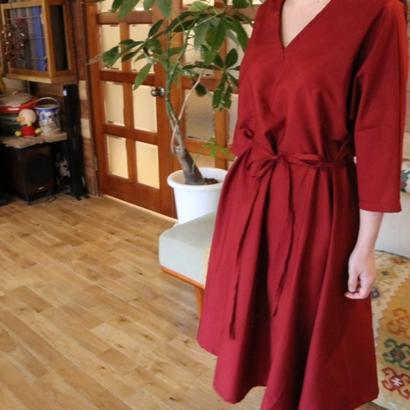 FLARED DRESS red