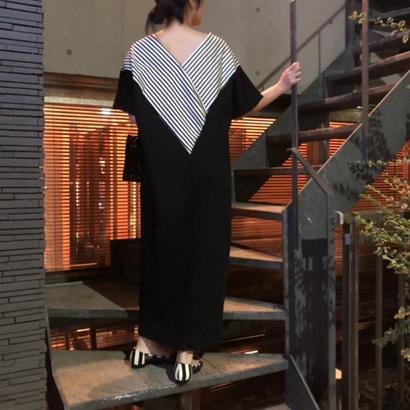 STRIPED NECK DRESS