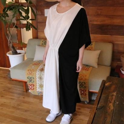 SIDE GATHER DRESS black/white