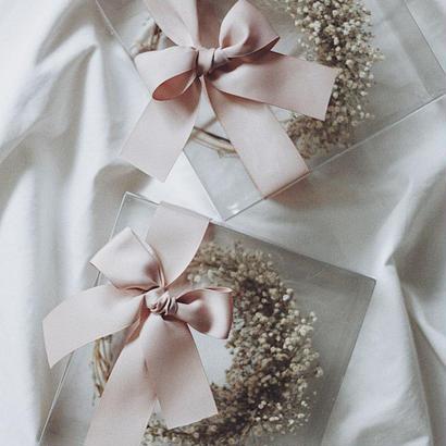 三日月かすみそうリース pink  ribbon
