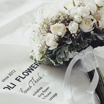 antique white crutch bouquet