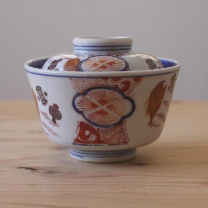 色絵の茶碗(花草)