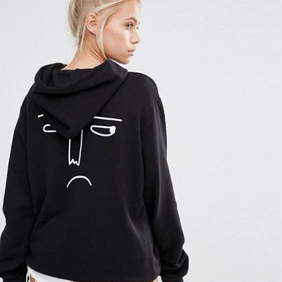 LAZY OAF  Oversized Boyfriend Hoodie With Sorry I'm Late Print
