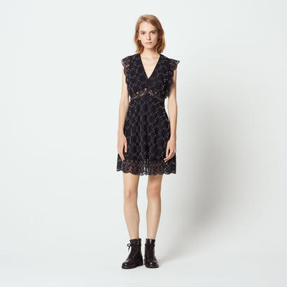sandro サンドロ    BEADED DRESS WITH SHEER EFFECT  ワンピース $570