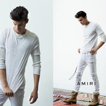 AMIRI ショットガンダメージ加工Tシャツ