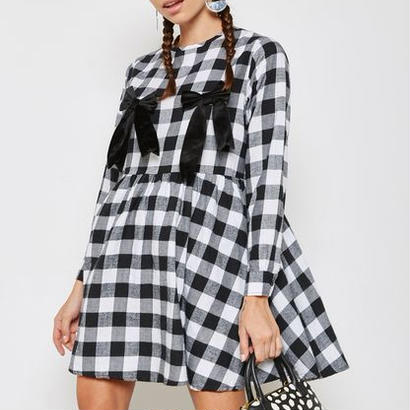 LAZY OAF  leeve Tea Dress With Bow Nips In Check