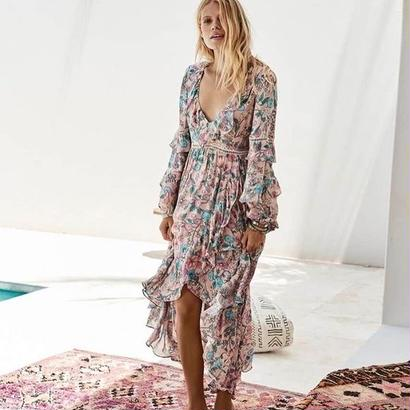 SPELL スペル Sayulita Frill Gown ワンピース 定価$229