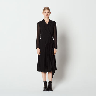 sandro サンドロ    LONG-SLEEVED DUAL-FABRIC DRESS  ワンピース $470