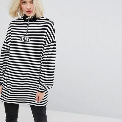LAZY OAF  Oversized Zip Neck Sweatshirt With Lazy Embroidery In Stripe