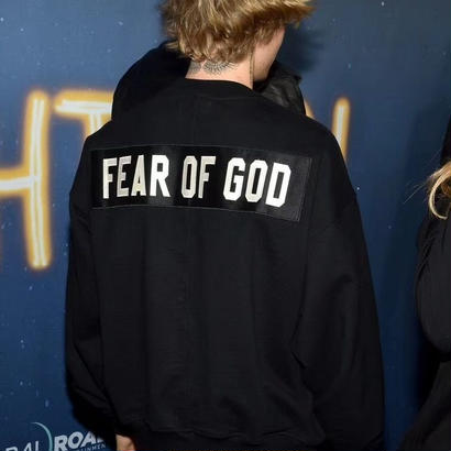 FEAR OF GOD black heavy terry logo sweat shirts