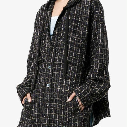 FAITH CONNEXION  Black Tweed Hooded Over Shirt 定価$1275