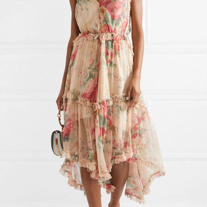 zimmermann ジマーマン Laelia floral-print silk-crepon midi dress ワンピース$960