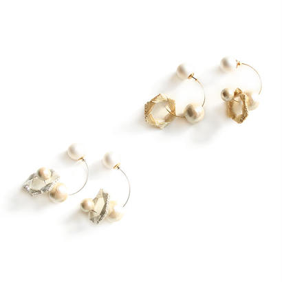 HEXAGON HOOP PIERCE/EARRING (metalic)