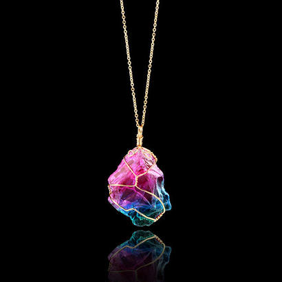Caxybb 虹自然石 シンプルワインディング結晶透明ペンダント ネックレス 女性ネックレス 346 7/4