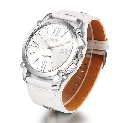 Crrju ブランドレザー腕時計 レディースファッションドレスクォーツ腕時計 ローマ数字 140