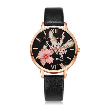 Xiniu puレザーバンド ドレス腕時計 カジュアル花柄クォーツ腕時計 122