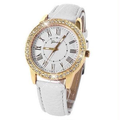 ファッション腕時計 高級クリスタルゴールド腕時計 クリスタルレザーストラップクォーツ腕時計 184