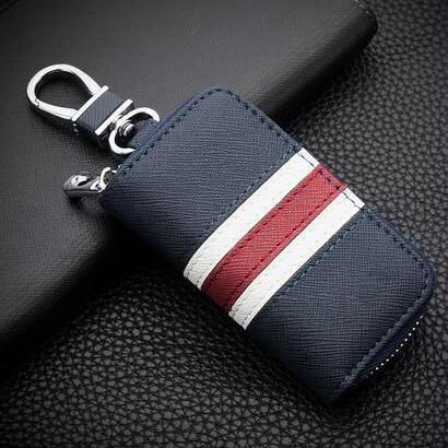 英国スタイル カラフルなストライプキー財布 本革キー財布 ジッパーキーケース 412 7/8