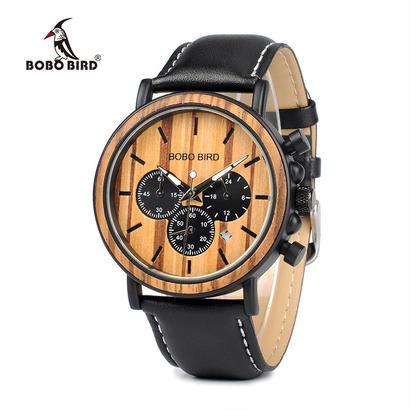 ボボ鳥 メンズ腕時計 ウッド男性時計 クロノグラフミリタリークォーツ腕時計 75